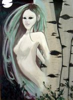 Birch Dryad acrylics by amarilli