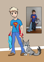 My Son, Blanket, Superman Cape, and Wolfie by Azumoth