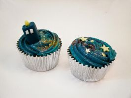 TARDIS cupcakes by thesearejessicakes