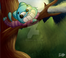 Gumball as the Cheshire cat by Arachnide-pool