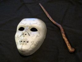 Death Eater Mask and Wand by boxcamera