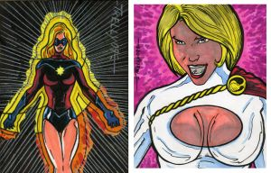 ms marvel and power girl card by TomKellyART