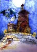 OLD ART  Dragon Fortress by Zolaris