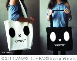 SCULL CANVAS TOTE BAGS by stephanielok