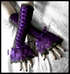 Nightshade Corset Laced Up Arm Warmers by ZenAndCoffee