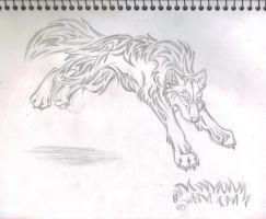 Leaping Wolf Tattoo WIP by Loco-Lu