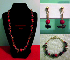 Tigereye - Coral Gemstone Set by BloodRed-Orchid
