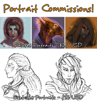 Portrait Commissions: OPEN! by Serpentwined