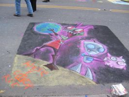 Invader Zim Street Painting by touchofazure