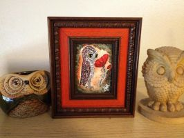 Owl and the Red Poppy - Framed Painting for sale by InkyDreamz