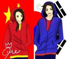 Hetalia: S.Korea and China by luck7151