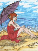Just sun sea and girl colored by Kaka313