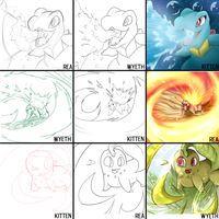 Threes Meme! Pokemon Starters. by MissKittens