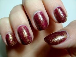 Wine and Gold NailArt by Belchii
