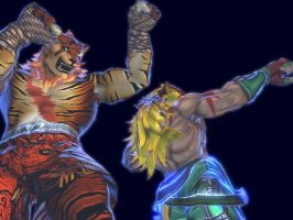 Tiger Sagat and King by dcory