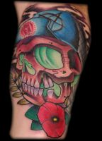 skater skull tattoo by exilink