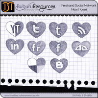 Freehand Social Network Heart Icons by BuburuResources