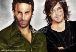 Rick Grimes  and Daryl Dixon  The Walking Dead by zelldinchit