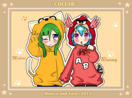 -COLLAB: Midori and Bluemy- by Taru-Blue-Angrybird