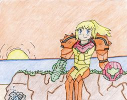 Metroid- Sitting on a Cliff (SS2012) by TheXHunter08
