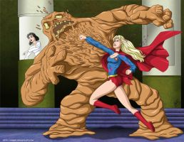 Supergirl vs Clayface 3 -commi by mhunt
