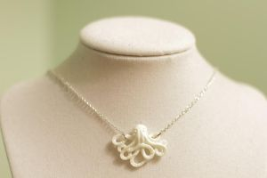 Tiny White Octopus Necklace by MonsterBrandCrafts