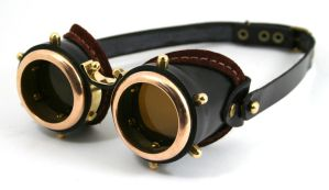 Steampunk goggles - black leather polished brass by AmbassadorMann