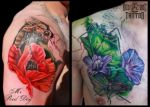 Chest Cover Up on Process by Reddogtattoo