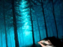 painting mystical forest by Gwillieth