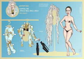 Lady Gaga Paper Doll: Jingle Bell Ball 2013 by DibuMadHatter