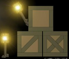 3 Crates and a torch Lit by GeneralRich