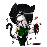 Chibi kitty with bloody heart by SilveronWolf