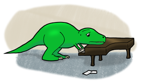 T-Rex Playing a Piano by TheFancyHatGuy