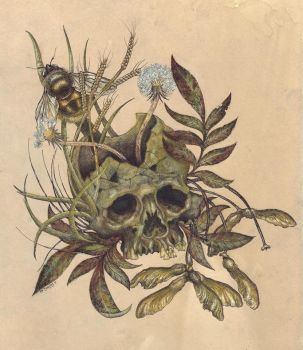 Skull and Weeds Color. by urielstempest