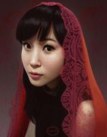 Girl With a Red Scarf by FionaMeng