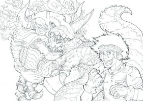 Tai and Greymon - colorless by TheLaughingChimera