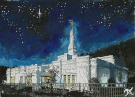 Birmingham, AL LDS Temple Night-scape by Ridesfire
