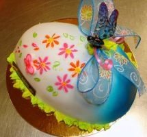 Blue easter egg cake by buttercreamfantasies