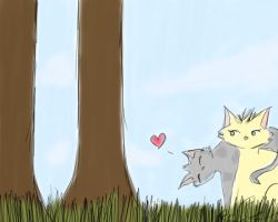 Ashfur and Leafpool by firestar21