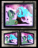 Commission:  Viridian and Azure Shadowbox by The-Paper-Pony