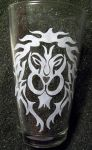 Tribal Warcraft Alliance pint glass by coventrydecor
