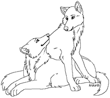 Free Wolf Couple Lineart 2 by Arukardis