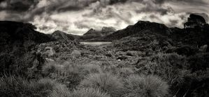 Cradle Mountain Pano BW by Questavia
