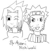 Sasuke x Naruto on Freehand by Fluttershy1989