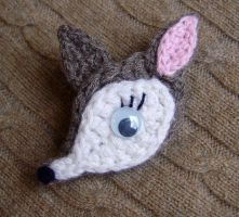Crochet Baby Deer Pin by meekssandygirl
