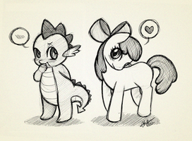 Sketch: Spike and Apple Bloom by Christinies
