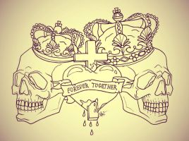 Forever Together Skull Tattoo by MaryMaryLP