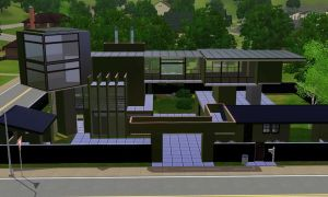 Sims 3 Modern black home by RamboRocky