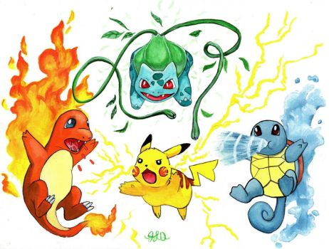 Pikachu, Bulbasaur, Charmander, and Squirtle by Bewildermunster