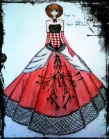 red and black ball gown by BethzAbonitz